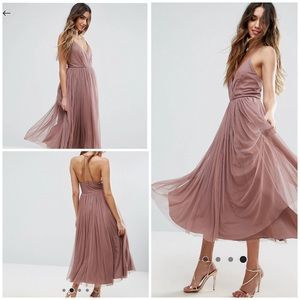⚡️Sale⚡️ Tulle Full Skirt Mauve Midi Dress by ASOS